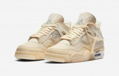 "OFF-WHITE x Air Jordan 4 ""Sail"" 官图发布"